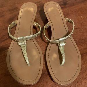 Coach | Gold Thong Wedge Sandals